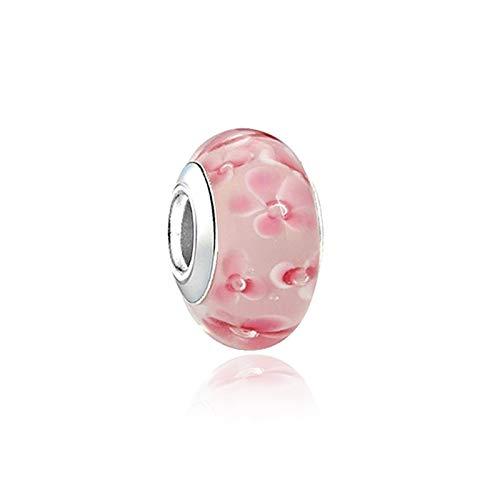 HETHYAN Aleación Bead Glass Bead Charm Cherry Bloom Flow Fit Brazalets DIY Mujer Joyería (Color : Pink)