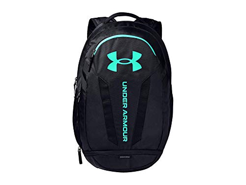 Under Armour Hustle Backpack, Black (003)/Seaglass Blue, One Size Fits All