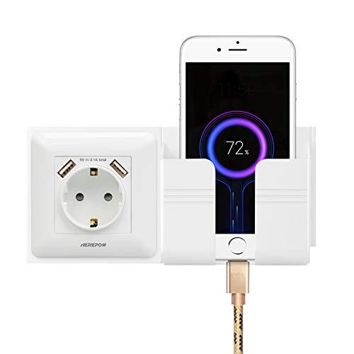 El enchufe tiene dos salidas de interfaz USB, el enchufe de pared y el enchufe integrado se utilizan en el hogar, la oficina y otras escenas (con soporte para teléfono móvil) (Blanco 2)