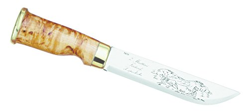Marttiini Lappland mes voor volwassenen, lemmet 15 cm, berkenhout, lederen schede jacht/outdoormes, meerkleurig, 26,5 cm