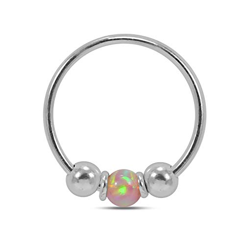 AZARIO LONDON Pink Opal Stone Center and Silver Bead Ring 22 Gauge (0.6MM) - 8mm Diameter 925 Sterling Silver Open Hoop Nose Ring Jewellery