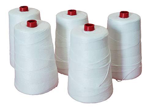 VRYSAC - Pack 5 bobinas hilo poliéster alta resistencia para cosedoras de sacos, lonas, manualidades DIY (200 gr.)
