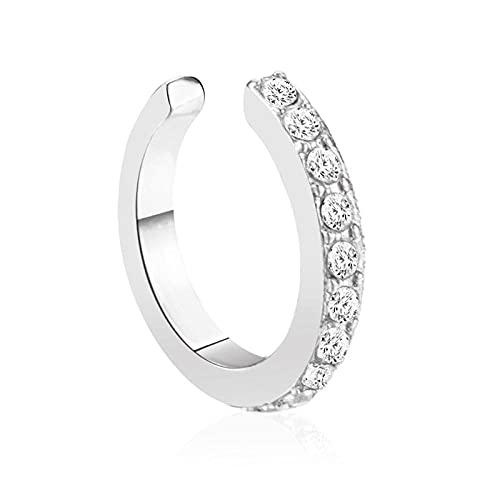 collar Pendientes clip de hueso de oreja de diamante simple sin viento frío perforado diseño de clip de oreja en forma de U aretes-blanco K blanco_