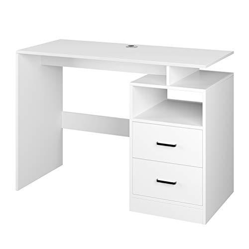 Homfa Computertisch Schreibtisch Arbeitstisch PC-Tisch Bürotisch mit 2 Schubladen und 1 offenen Fach aus Holz skandinavisches Design modern Weiß 108x48x76.5cm(BxTxH)