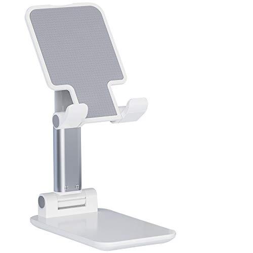 【2020改良モデル】AMOVO スタンド アーム型 スマホ・タブレット用 卓上スタンド スマホホルダー 折り畳み 高度・角度調節可 ケーブル差込可能 滑り止め 読書 在宅勤務 おうち時間 タブレットスタンド(白)