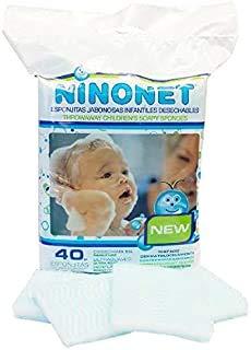 NINONET 120 ESPONJAS Jabonosas Desechables bebes, niños y adultos - Esponja Bebe Piel Sensible - Esponjas Baño con Jabón ph neutro - Pack 3 paquetes de 40 esponjas.