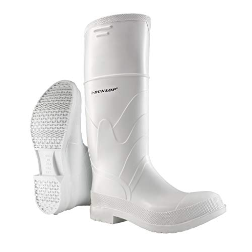 Dunlop 8101110 White PVC Boots, 100% Waterproof PVC, Lightweight and Durable Protective Footwear, Slip-Resistant, Size 10