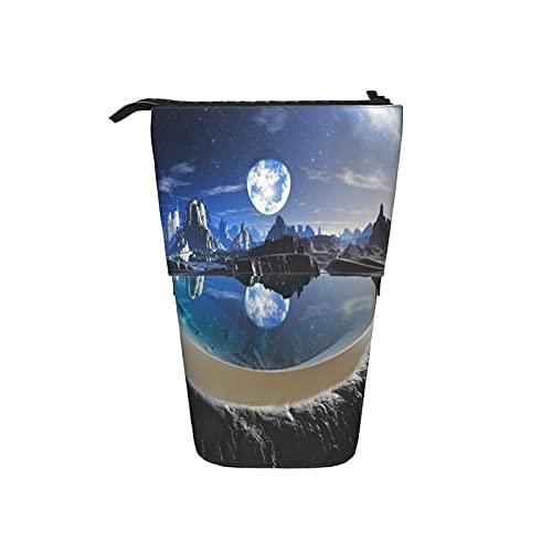 Astuccio telescopico Astuccio per cancelleria,Riflessione del pianeta acqua in piscine di r,Supporto per matite Stand Up Astuccio per cosmetici con cerniera per l ufficio del college scolastico