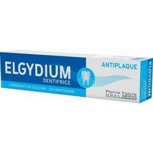 drei Packungen mit ELGYDIUM Anti-Plaque Zahnpasta x 75ml/100g