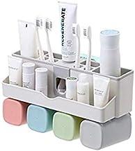 مجموعة حامل فرش الأسنان العائلية، حاملات فرش الأسنان ومعجون الأسنان مثبتة على الجدار بنمط وفر المساحة ولا تثقُب