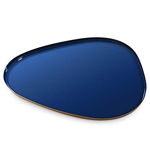 Allegorie Decorative Tray | Stylish Vanity Organizer or Catchall Valet Display | Navy Blue & Gold Metal Serving Tray for Coffee Table, Ottoman, Bar, Liquor or Cocktails 16 x 12.5 inches