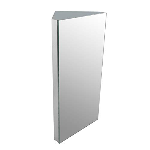 Renovators Supply Manufacturing R-Infinity Corner Wall Mount Medicine Cabinet Brushed Stainless Steel with Mirror Door Triple Shelf Opens Right to Left 11-7/8 in. W X 23-5/8 in. H Easy Install