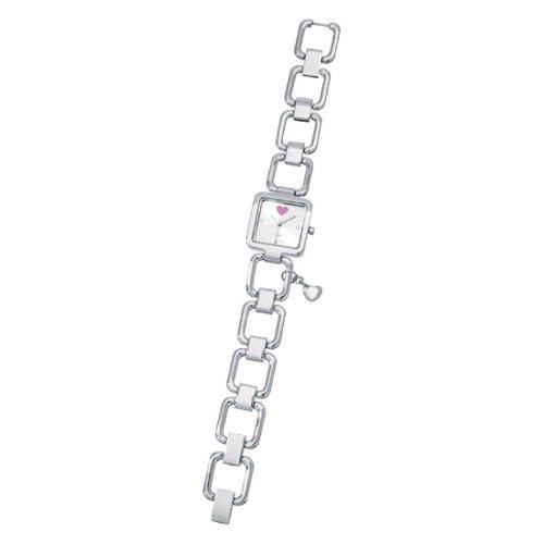 Damen Armbanduhr mit Edelstahlarmband mit Herzanhänger Uhr