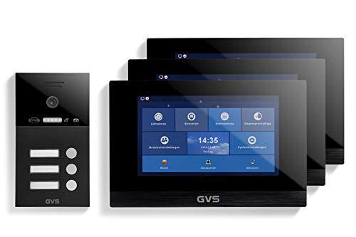 GVS Videoportero IP IP65 con RFID, monitor de 3 x 10 pulgadas, aplicación, cámara HD de 120°, apertura de puertas, memoria de 32 GB, interruptor PoE, juego para 3 casas familiares, AVS4271U