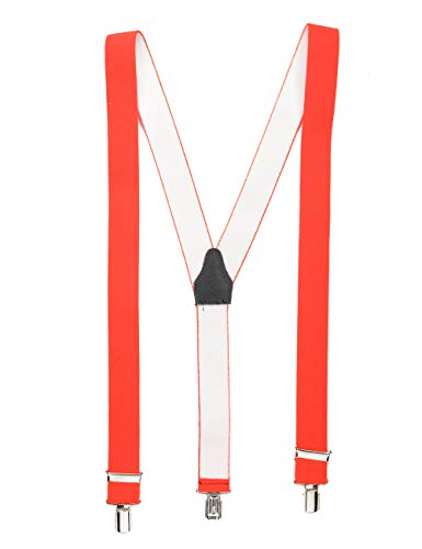 shenky Neonorange hochwertiger Hosenträger mit 3 Clips Klips Y-Form Männer Damen Hose Jeans Fasching Oktoberfest Fassnacht Karneval neonorange neon orange