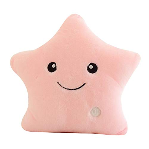 Almohada luminosa única con diseño de estrella, con luz LED, para sofá, regalo de cumpleaños, para niños
