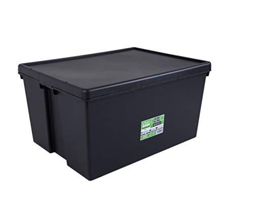 Wham 2 Stück Bam Heavy Duty Recycling Box - 150 Liter mit Deckel - 80 x 59,5 x 42cm - schwarz