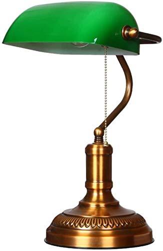 Lámpara de banquero Pantalla verde Retro Bronce Lámparas de escritorio tradicionales Estudio de oficina Diseños simples Luces de lectura que cuidan los ojos