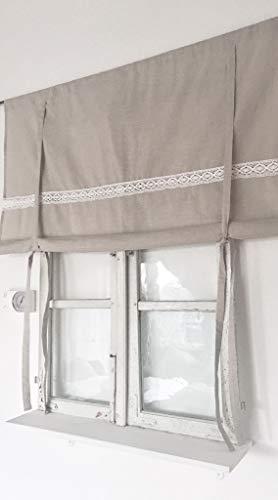 Shabby Raffrollo beige Leinen Optik 120 B x 120 H