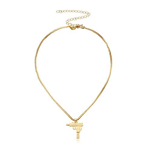 Collar Moda Uzi Pequeña Pistola Colgante Collar Temperamento Popular Collar Corto Collar