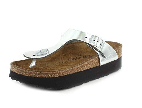Birkenstock Papillio Women's Gizeh Platform Sandal, Silver Leather, 37 M EU