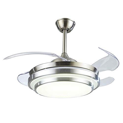 SQDDM Luz del ventilador Ventiladores de techo retráctiles Luz con control remoto LED Invisible Ventilador de techo Lámpara Decoración de arte 107 * 107 * 44 cm (L * W * H)