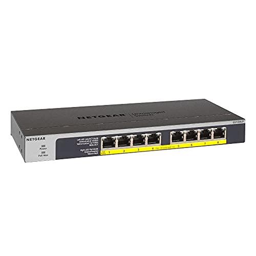 NETGEAR GS108LP PoE Switch 8 Port Gigabit Ethernet LAN Switch mit 8x PoE+ 60W (Plug-and-Play Netzwerk Switch PoE, lüfterlos, Rack-Montage möglich, ProSAFE Lifetime-Garantie)