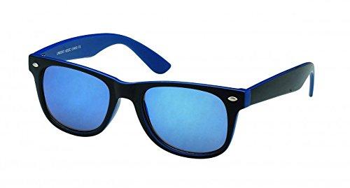 Chic-Net Wayfarer Nerdbrille Espejo 400UV Exterior de Color Negro en el Interior de Color Azul Oscuro