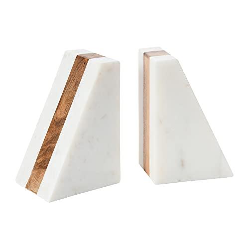 Main + Mesa Modern Boho Natural Marble and Wood Stripe Geometric Triangle Bookends; Set of 2...
