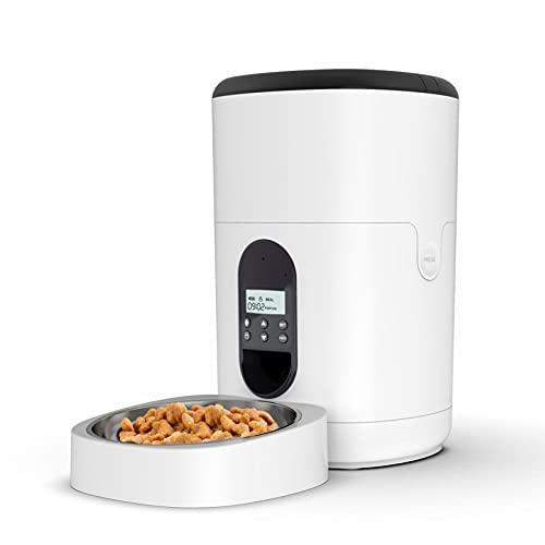 TAUSFILA Mangiatoia automatica da 4 l per gatti e cani, distributore automatico di cibo con timer, schermo LCD e funzione di registrazione sonora fino a