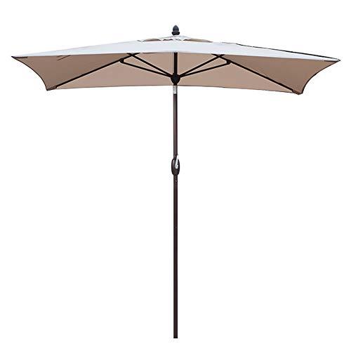 SORARA Patio Umbrella Rectangular Outdoor Market Table Umbrella with Push Button Tilt&Crank&Umbrella Cover, 6.5' x 10', Antique Beige