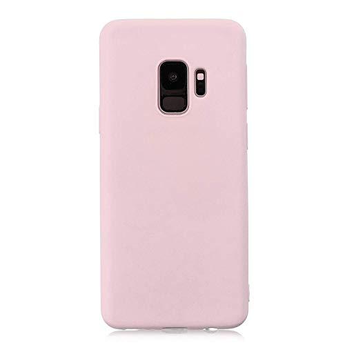 cuzz Funda para Samsung Galaxy S9+ Plus+{Protector de Pantalla de Vidrio Templado} Carcasa Silicona Suave Gel Rasguño y Resistente Teléfono Móvil Cover-Rosa Claro