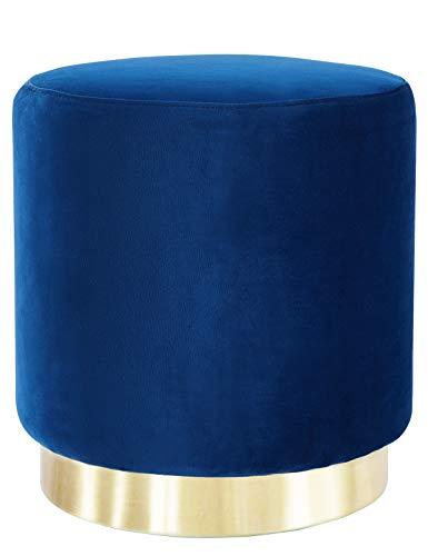Reposapiés Puff Baúl Asiento Otomana para salón y Dormitorio Elegante Moderno Redondo Taburete de Terciopelo Patas de Metal Maciza Asiento (Azul)