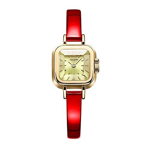 CHENDX Julius Personalidad Corte Reloj del Espejo de la Moda Fresca pequeña Delicado dial del Cuadrado del Reloj de la Correa Femenina de Cuello Blanco (Color : A)
