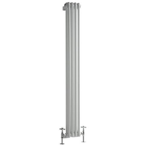 Milano Hudson Reed Regent Radiador de Diseño Vertical en Estilo de Hierro Fundido - Radiador con Acabado Blanco - Columnas 2 x 4-548W - 1500 x 200 x 68mm - Calefacción