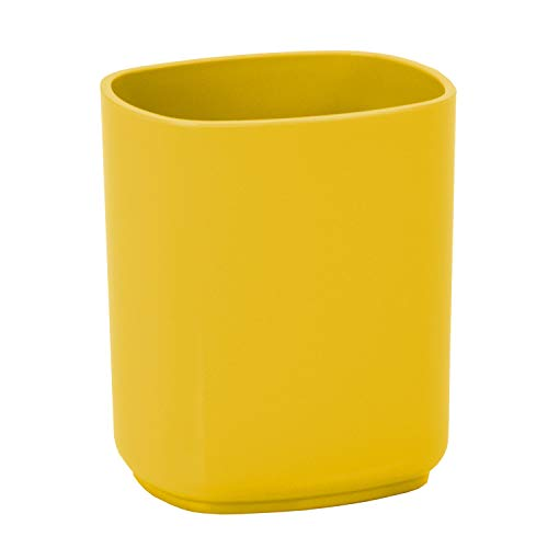 Acrimet Jumbo Pencil Cup Caddy Holder Desktop Organizer (Plastic) (Solid Yellow Color)