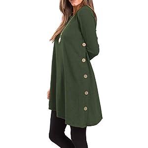 Women's Long Sleeve Scoop Neck Button Side Sweater Tunic Dress
