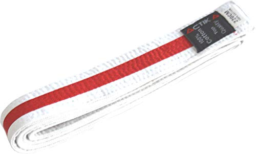 Actika ctika 220 - Cinturón de budo para karate, judo, taekwondo, artes marciales, ju-yutsu (blanco/rojo, 220)