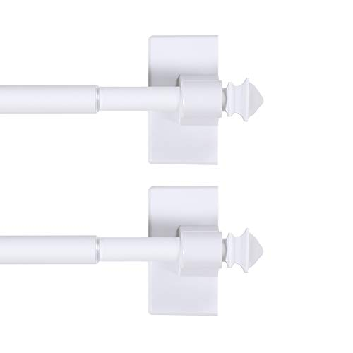H.VERSAILTEX 2 Pack Magnetic Curtain Rods for Metal Doors Multi-Use Rods for Small Windows Cafe Sidelight and Iron Steel Places, Tool Free with Square Finials (Adjust from 16 to 28 Inch, White)