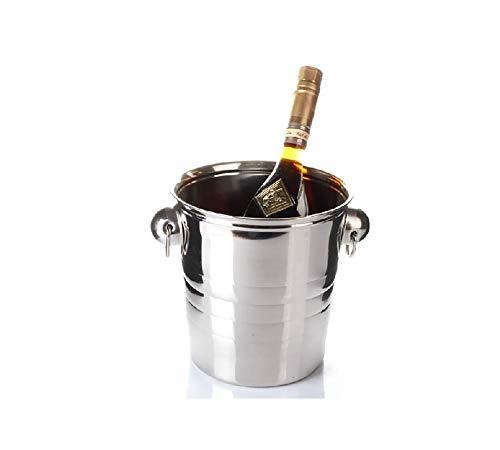 SCDZS Edelstahl Eiskübel Wein-Champagne-Flaschenkühler Spiegel-Ende-gewellter Ring (Size : 5L)
