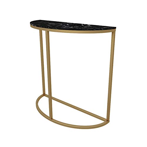 Console Tables, White/black Marble Table By The Wall Console Tables For Hallway Slim Hotel Decoration Semicircle Console Table(Size:80 * 30 * 80CM,Color:black)