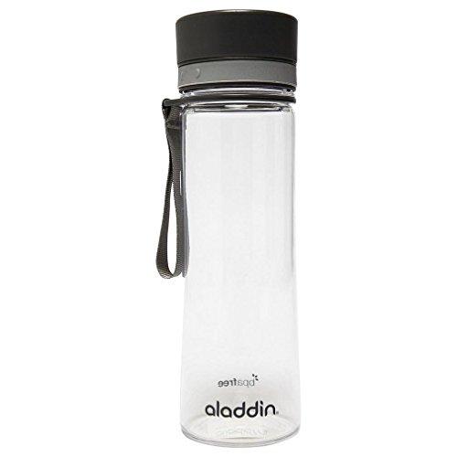 Aladdin AVEO Trinkflasche aus Tritan-Kunststoff, 0.6 Liter, Schwarz, Auslaufsicher, Durchsichtig, Wasserflasche Fahrradflasche