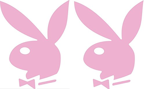 2 Playboy Bunnies Logo - Vinyl 3' tall (Color: PINK) decal laptop tablet skateboard car windows stickers - by So Cool Stuff