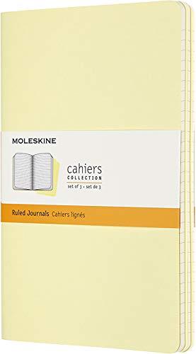Moleskine Cahier Journal (3er Set Notizbücher mit karierten Seiten, Kartoneinband und Baumwollstickerei, Large 13 x 21 cm, 80 Seiten) Sanftgelb