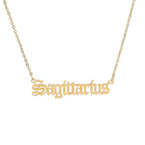 Collares para mujer, moda 12 constelaciones del zodiaco letra colgante collar joyería regalo – Sagitario
