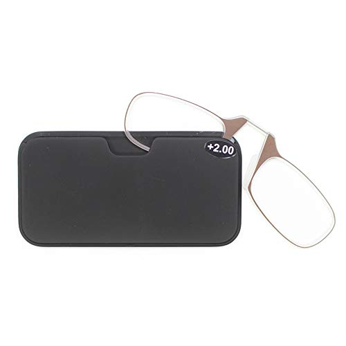 2-pack neus rustende knijpende leesbril met etui, ultralichte mini draagbare uniseks cliplezers