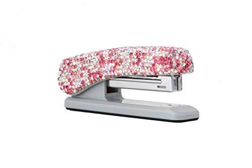 TISHAA Bling Stapler Office Supplies - Luxury Crystal Glitter Diamond Rhinestone Fun Desk Desktop School Home Mini Cute Novelty Décor (Pink)