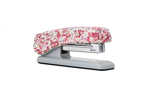 Bling Stapler by TISHAA � Sparkly Fun Stapler for Girls � Colorful Decorated Office Supplies � Unique Glitter Rhinestone Standup Stapler � Easy to Use and Practical � Diamond Bling Covered Stapler