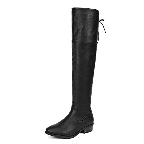 DREAM PAIRS Women's Lei Black Pu Over The Knee High Low Block Heel Riding Boots Size 8 B(M) US