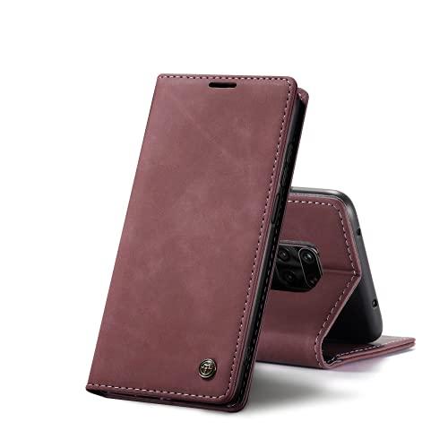 Chocoyi Kompatibel mit Xiaomi Redmi Note 9S/Note 9 Pro Hülle Leder,Magnetverschluss Premium PU Leder Flip Hülle,Standfunktion.-rot
